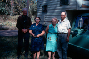 Unknown campers, location unknown - I love the shade of green on that pickup truck