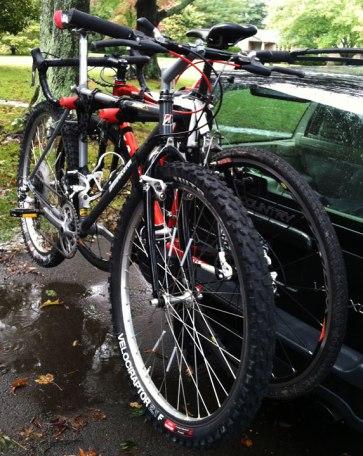 Bridgestone MB-4 and Jamis Supernova racked and ready to go to the bike shop